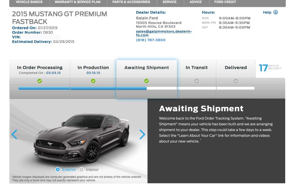 2015 Ford Mustang GT Awaiting Shipment