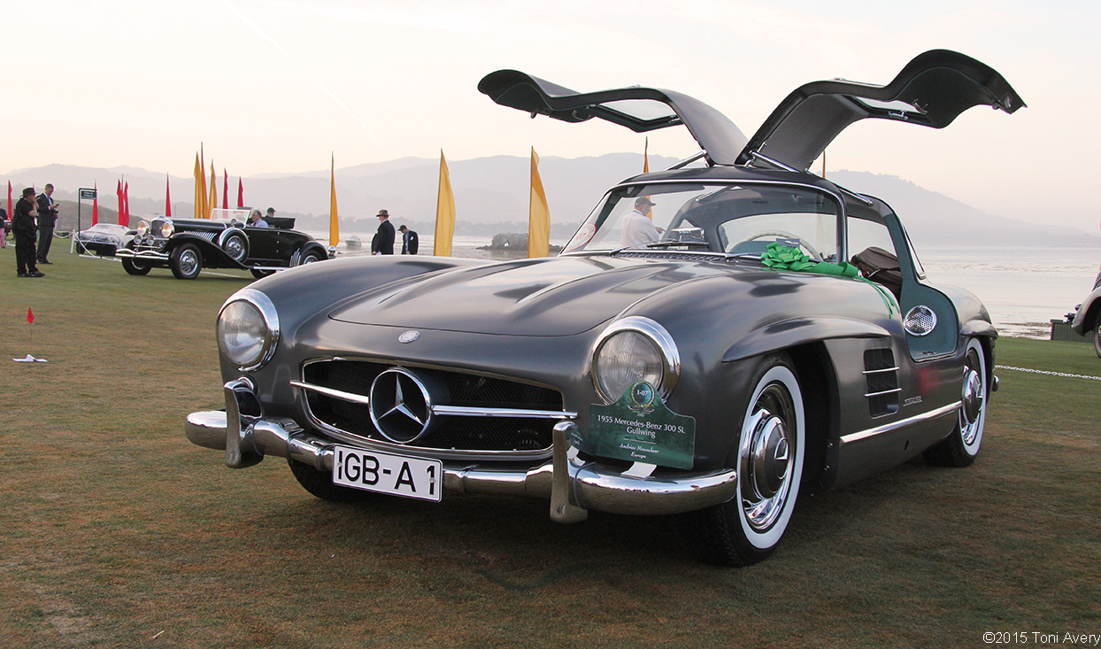 Girlsdrivefasttoo 8 16 15 pebble beach ca 1955 mercedes for Mercedes benz gullwing 1955