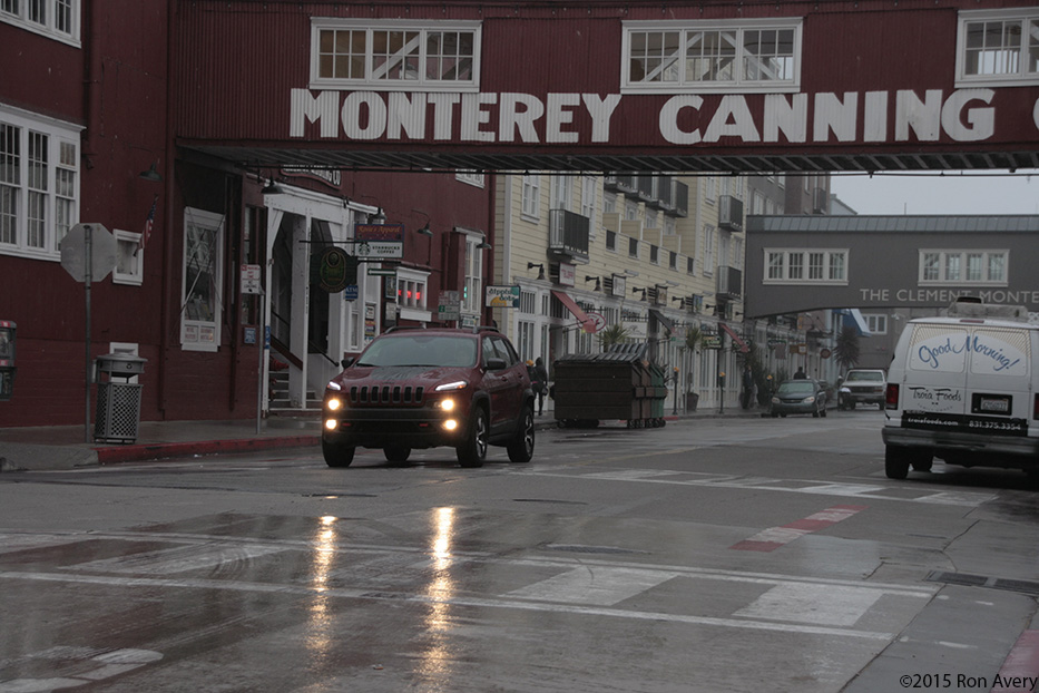 driving the 2015 Jeep Cherokee TrailHawk early in the morning down Cannery Row