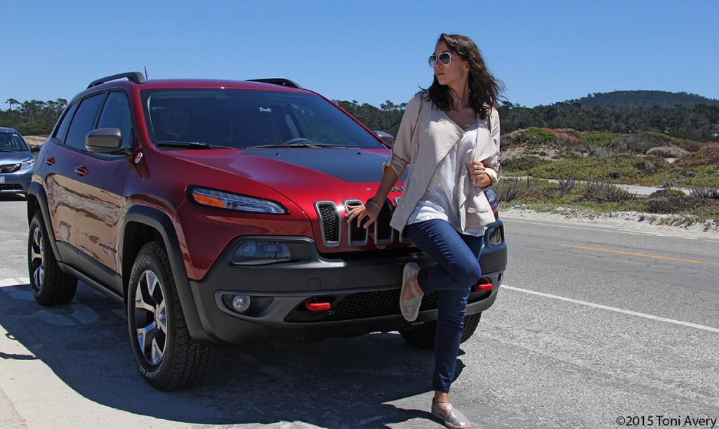 Toni w Jeep in Pebble Beach 72