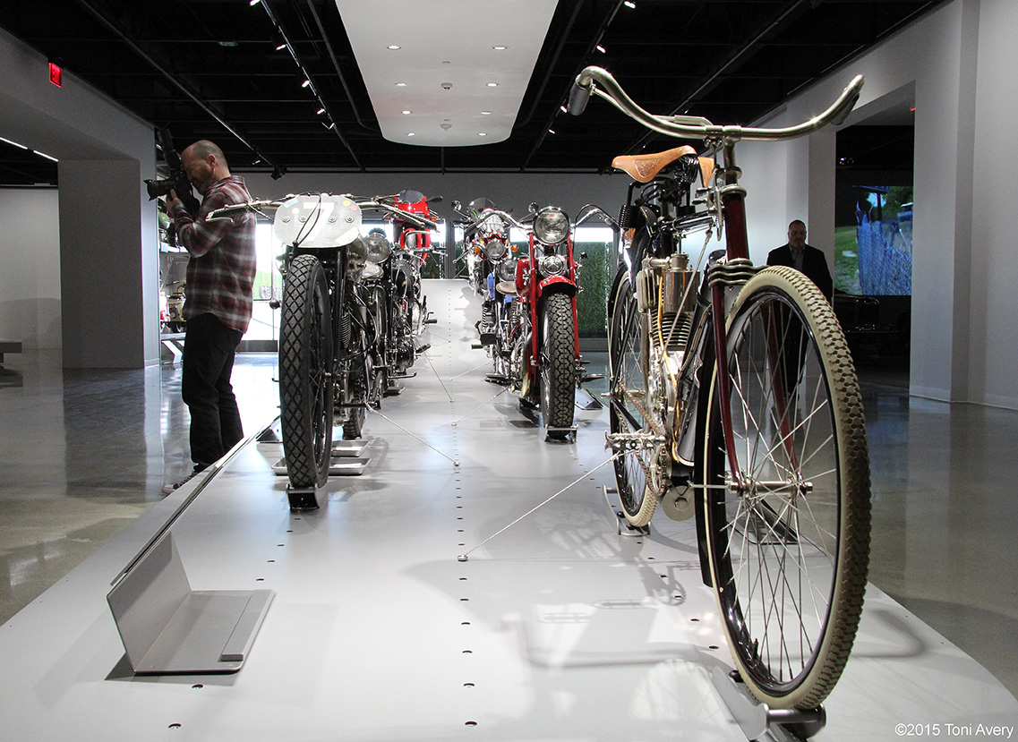 Motorcycle display, Petersen Museum Los Angeles, CA