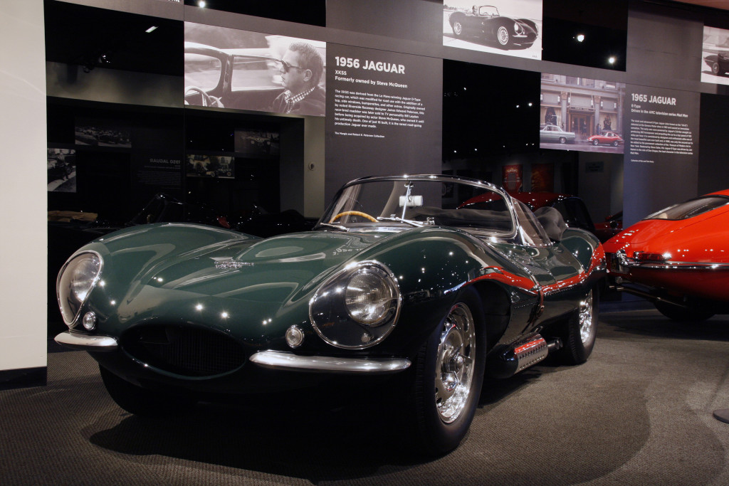 The Petersen Museum Jaguar exhibit 1956 XKSS, 1965 FHC E-Type 12-23-13 © 2013 Ron Avery