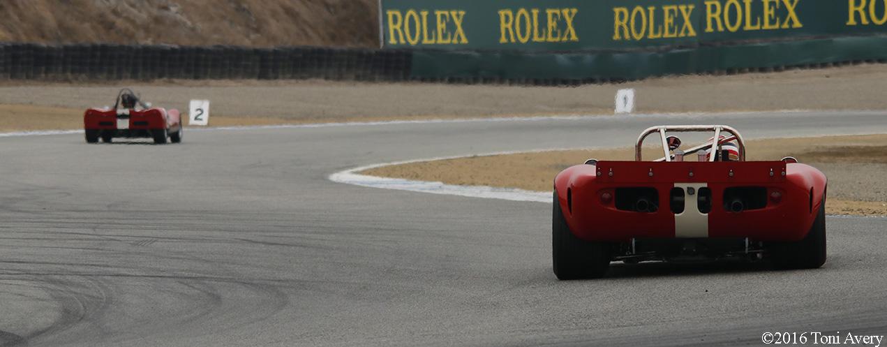 Rolex Monterey Motorsports Reunion rear of race cars 2
