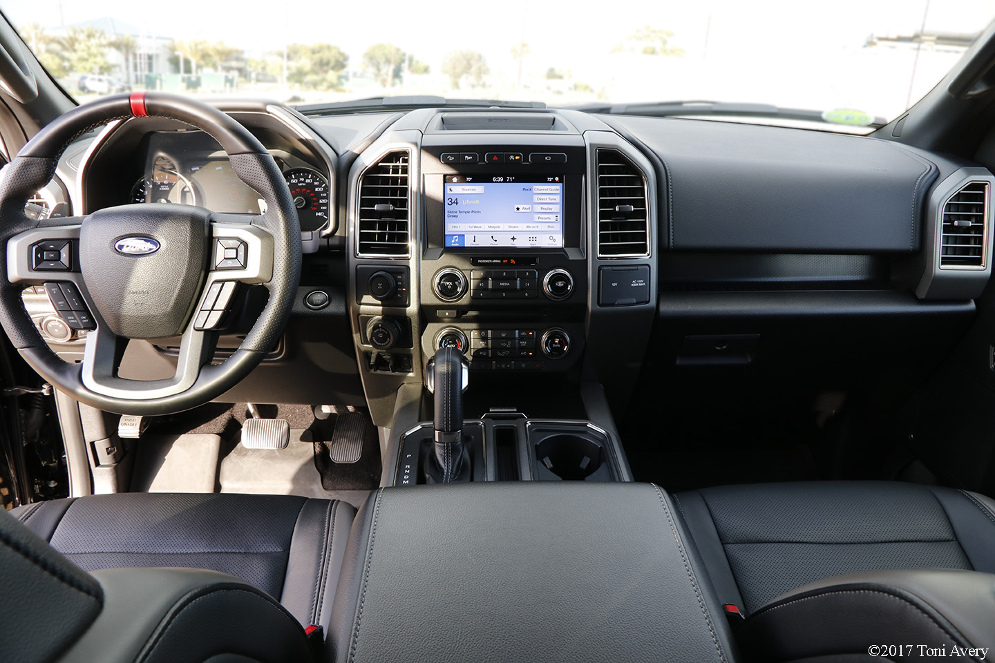 inside the raptor is an all black cloth interior with options from equipment group 802a